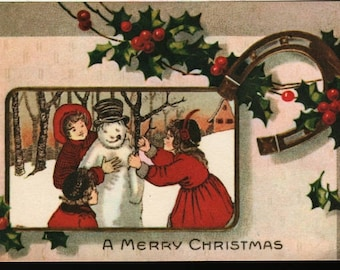A Merry Christmas * Children with Snowman and Holly- Vintage Postcard