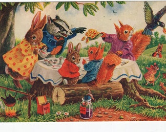 The Stolen Tart * Rabbit * Badger * Squirrel * Picnic * 384 * Racey Helps * The Medici Society * Great Britain * Vintage Postcard