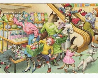 Mainzer Cats * Grocery Shopping * 4962 * Eugen Hartung * Belgium * Unused * Vintage Postcard * Deckle Edge