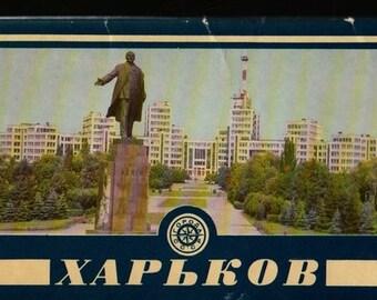 Kharkov Soviet Ukraine + Vintage Souvenir Postcard Book