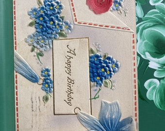 A Happy Birthday * Envelope * Pansies * 1912 * Canceled Stamp * Victorian * Antique Postcard