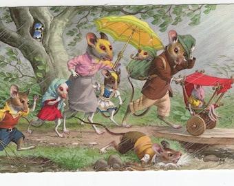 Mainzer Mice * Walk in the Rain * 4903 * Eugen Hartung * Belgium * Unused * Vintage Postcard * Deckle Edge