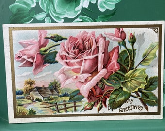 Birthday Greetings * Pink Roses * Water Mill * 1900s * Victorian * Antique Postcard