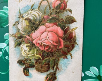 Happy Birthday * Pink and White Flowers * 1900s * Canceled Stamp * Victorian * Antique Postcard