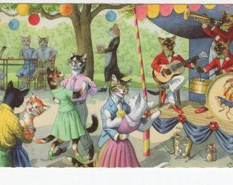 Mainzer Cats * Dance Party * 4863 * Eugen Hartung * Belgium * Unused * Vintage Postcard * Deckle Edge