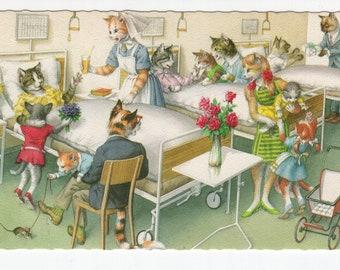 Mainzer Cats * Hospital Visit Maternity Ward * 4988 * Eugen Hartung * Belgium * Unused * Vintage Postcard * Deckle Edge