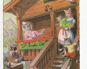 Mainzer Cats * Mail Time Postman * 4986 * Eugen Hartung * Belgium * Unused * Vintage Postcard * Deckle Edge