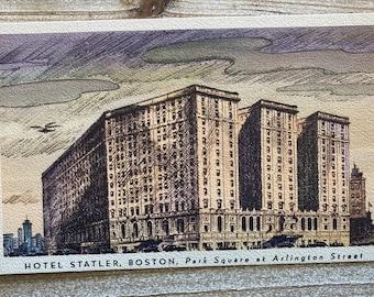 Hotel Statler * Boston * Massachusetts * Park Square * Linen * Vintage Postcard