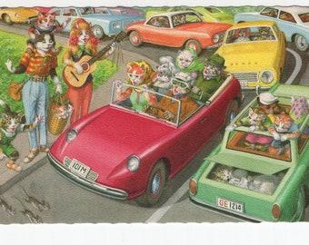 Mainzer Cats * Traveling Musicians * Traffic Jam * 4991 * Eugen Hartung * Belgium * Unused * Vintage Postcard * Deckle Edge
