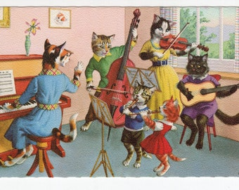 Mainzer Cats * Music Practice * 4929 * Eugen Hartung * Belgium * Unused * Vintage Postcard * Deckle Edge