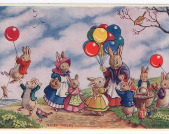 The Balloon Seller * Rabbit Children * Countryside * 197 * Racey Helps * The Medici Society * Great Britain * Vintage Postcard