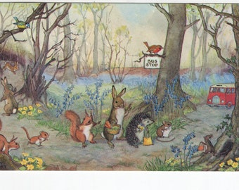 Catching the Bus * Mouse * Rabbit * Squirrel * Molly Brett * The Medici Society * Great Britain * Vintage Postcard