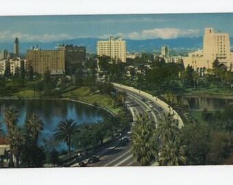 Wilshire Boulevard * MacArthur Park * Los Angeles * California * 1956 * Vintage Postcard