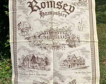 Romsey * Hampshire * Abbey Church * King Johns House * Salmon Leap * Vintage Souvenir Tea Towel