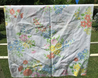 Vibrant Collection of Red, Pink, Yellow, and Blue Flowers * Vintage Pillow Case