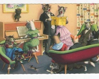 Mainzer Cats * Piano Time Sing Along * 4892 * Eugen Hartung * Belgium * Unused * Vintage Postcard * Deckle Edge