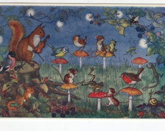 Musical Chairs * Toadstools * Molly Brett * The Medici Society * Great Britain * Vintage Postcard