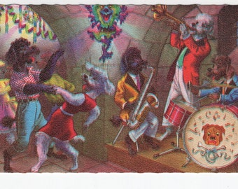 Mainzer Dogs * Poodles In A Jazz Club * 4937 * Eugen Hartung * Belgium * Unused * Vintage Postcard * Deckle Edge