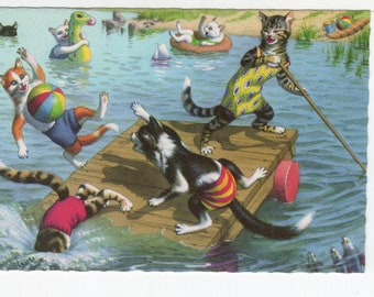 Mainzer Cats * Swimming Hole * 4870 * Alfred Mainzer * Eugen Hartung * Belgium * Unused * Vintage Postcard * Deckle Edge