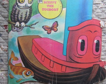Scuffy the Tugboat A Golden Shape Book * Tibor Gergely * The Golden Press * 1979 * Vintage Kids Book