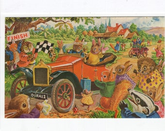 The Old Crocks Race * Rabbit * Antique Car * 385 * Racey Helps * The Medici Society * Great Britain * Vintage Postcard