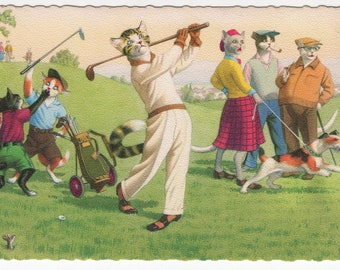 Mainzer Cats * Golfing * 4883 * Eugen Hartung * Belgium * Unused * Vintage Postcard * Deckle Edge