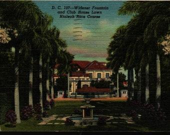 D. C. 107 – Widener Fountain and Club House Lawn – Hialeah Race Course – Florida – Vintage Curteich Postcard