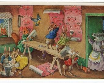 The Paperhangers * Rabbit * Squirrel * Wallpaper * 287 * Racey Helps * Marian Heath * Sudbury, Massachusetts * Vintage Postcard