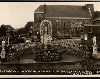 Patriotism in Stone and Grotto - Dickeyville, Wisconsin - J. Seidl Photo - Vintage Postcard