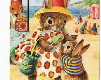 At The Seaside * Beach Scene * Mom * Bunny * 316 * Racey Helps * The Medici Society * Great Britain * Vintage Postcard