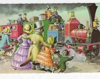 Mainzer Cats * All Aboard Train Ride * 4926 * Eugen Hartung * Belgium * Unused * Vintage Postcard * Deckle Edge