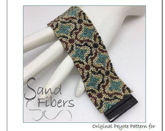 Peyote Pattern - Picasso Tiles Peyote Cuff / Bracelet  - A Sand Fibers For Personal and Commercial Use PDF Pattern