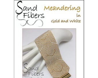 Peyote Pattern - Meandering in Gold and White Peyote Cuff / Bracelet  - A Sand Fibers For Personal and Commercial Use PDF Pattern