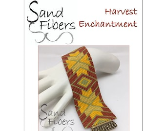 Peyote Pattern - Harvest Enchantment Peyote Cuff / Bracelet  - A Sand Fibers For Personal and Commercial Use PDF Pattern