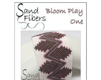 Peyote Pattern - Bloom Play One Peyote Cuff / Bracelet  - A Sand Fibers For Personal and Commercial Use PDF Pattern