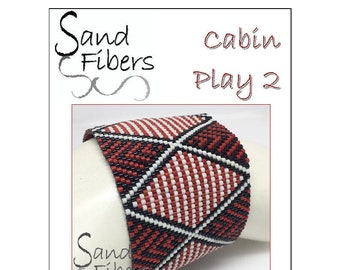 Peyote Pattern - Cabin Play 2 Peyote Cuff / Bracelet  - A Sand Fibers For Personal/Commercial Use PDF Pattern