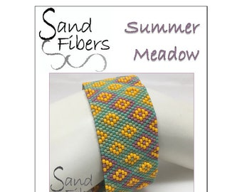 Peyote Pattern - Summer Meadow Peyote Cuff / Bracelet  - A Sand Fibers For Personal and Commercial Use PDF Pattern