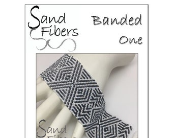 Peyote Pattern - Banded One Peyote Cuff / Bracelet  - A Sand Fibers For Personal and Commercial Use PDF Pattern