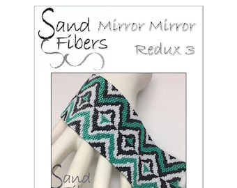 Peyote Pattern - Mirror Mirror Redux 3 Peyote Cuff / Bracelet  - A Sand Fibers For Personal and Commercial Use PDF Pattern