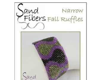 Peyote Pattern - Narrow Fall Ruffles Peyote Cuff / Bracelet  - A Sand Fibers For Personal/Commercial Use PDF Pattern