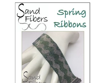 Peyote Pattern - Spring Ribbons Peyote Cuff / Bracelet  - A Sand Fibers For Personal/Commercial Use PDF Pattern