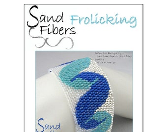 Peyote Pattern - Frolicking Peyote Cuff / Bracelet  - A Sand Fibers For Personal/Commercial Use PDF Pattern