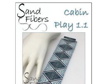 Peyote Pattern - Cabin Play 1.1 Peyote Cuff / Bracelet  - A Sand Fibers For Personal/Commercial Use PDF Pattern
