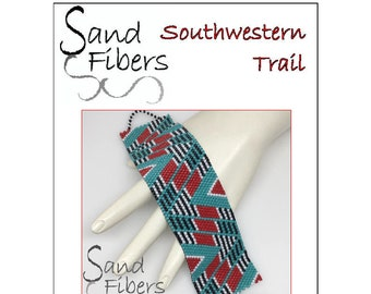 Peyote Pattern -   Southwestern Trail Peyote Cuff / Bracelet  - A Sand Fibers For Personal and Commercial Use PDF Pattern