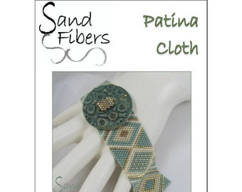 Peyote Pattern - Patina Cloth Peyote Cuff / Bracelet  - A Sand Fibers For Personal and Commercial Use PDF Pattern