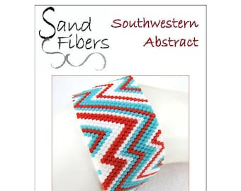 Peyote Pattern - Southwestern Abstract Cuff / Bracelet - A Sand Fibers For Personal/Commercial Use PDF Pattern