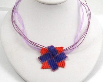 Pinwheel Blossom Peyote Pendant  (2552) - A Sand Fibers Creation