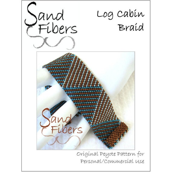 Peyote Pattern Log Cabin Braid Cuff / Bracelet A Sand   Etsy