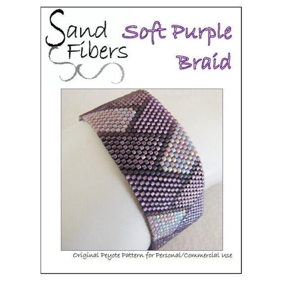 Braided Pattern in White Lavender and Grey Peyote Beaded Bracelet