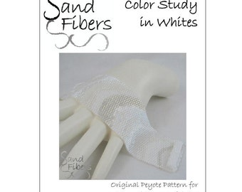 Peyote Pattern - Color Study in Whites Peyote Cuff / Bracelet  - A Sand Fibers For Personal/Commercial Use PDF Pattern